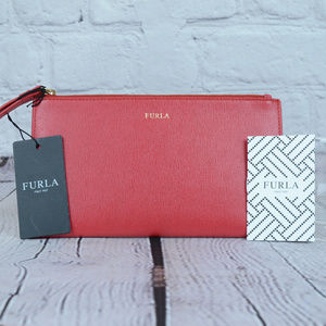 NWT FURLA Red Leather Top Zip Wristlet